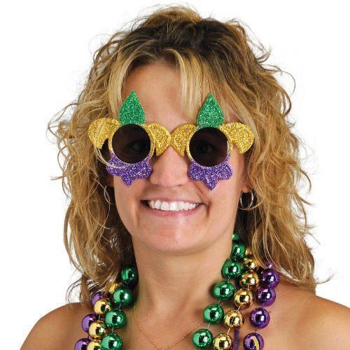 Glittered Fleur De Lis Fanci-Frames (green, gold, purple) Party Accessory  (1 count) (1/Pkg)