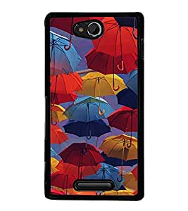 Colourful Umbrellas 2D Hard Polycarbonate Designer Back Case Cover for Sony Xperia C :: Sony Xperia C HSPA+ C2305