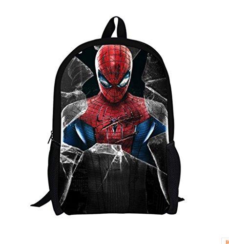 Bebamour New Style Spiderman Patterns Back to School Backpacks Superman School Bags (black)