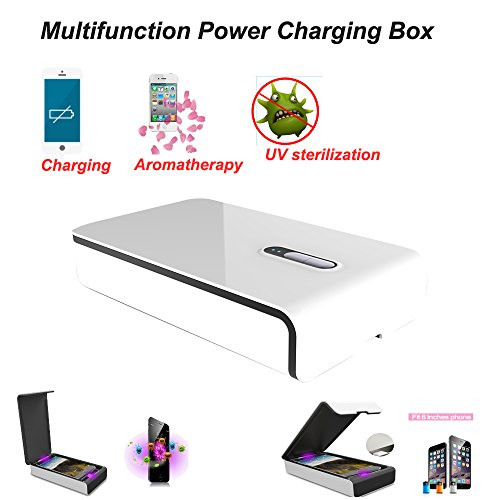 Multi Function Cell Phone Clearner Sanitizer UV Sterilizer Aromatherapy Power Charger Box For Iphone Samsung,XiaomiHTC,Nokia Phone With Dual UV lamp (White) (Cell Phone Uv Lamp compare prices)