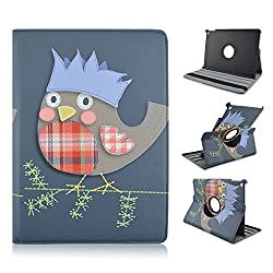 Elfe Boutique iPad Air 2 Case Owl 360 Degree Rotating Stand Case with Smart Cover Auto Sleep / Wake Function for Apple iPad Air 2 (iPad 6) Fashion Owl on Jean + Screen Protector