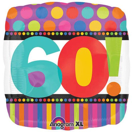 Party Destination - Dots and Stripes Birthday 60 Foil Balloon - , 18""