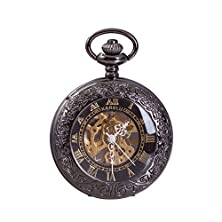 buy Karelu Steampunk Pocket Watch Pendant Roman Number Half Hunter Antiqued Silver With Newly Design Gift Box And Metal Chain,Black