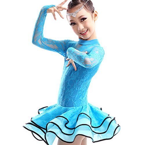 New Girls' Party Dancing Dress Latin Costume long sleeve Lace,110cm-120cm,Blue