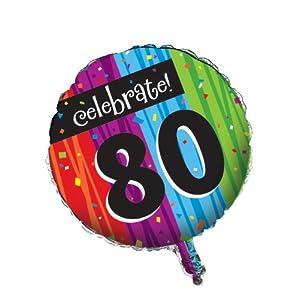 Creative Converting Party Decoration Round Metallic Balloon, Milestone Celebrations 80th