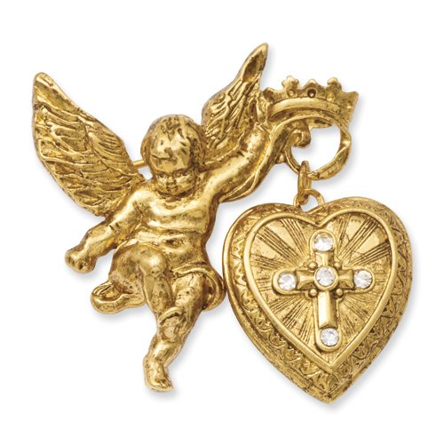 Gold-tone, crystal Glory of the Cross locket pin