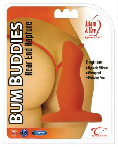 Adam & Eve Bum Buddies Rear End Rapture, Beginner Silicone Anal Plug, Orange