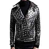 Mokewen Men's Pattern Asymmetric Zipper Skinny Slim Fit Jacket
