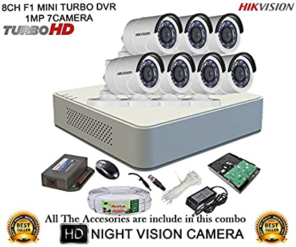 Hikvision-DS-7108HGHI-F1-8CH-Mini-Dvr,-7(DS-2CE16C2T-IRP)-Bullet-Cameras-(with-Mouse,-2TB-HDD,-Bnc&Dc-connectors,Power-Supply,Cable)