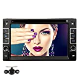 NAVISKAUTO 6.2 Inch Wince 6.0 Double Din Bluetooth Touch-Screen Car DVD Player Stereo In Dash GPS Navigation with Backup Camera Support Radio/USB/SD/Steering Wheel Control Function Black (W0237+Y0801)