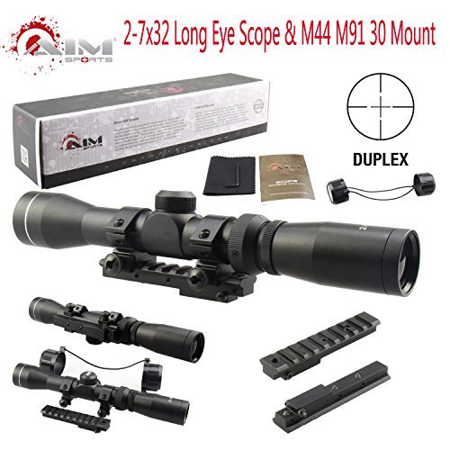 PROSUPPLIES @ AIM SPORTS® Mosin Nagant 2-7x32 Long Eye Relief Scope + M44 M91 30 Scout Mount Package