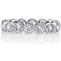 Sterling Silver Ring Round Bezel Cubic Zirconia CZ Eternity Band