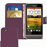 ITALKonline HTC One V Purple PU Leather Executive Multi-Function Wallet Case Cover Organiser Flip with Credit / Business Card Money Holder