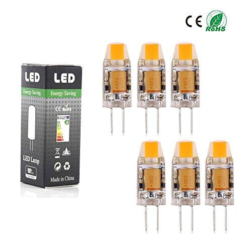 Confezione da 6 - COB LED Bulb AC DC 12V G4 1.5W 0705 COB SMD cristallo di luce LED lampadina LED di sostituzione della lampada alogena 10W bianco caldo [Classe energetica A ++]