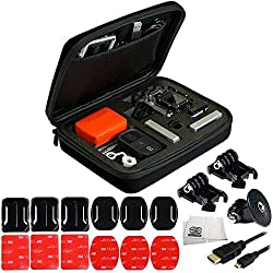 GoPro HERO4, HERO3+, HERO3 (Black, Silver & White) & HERO Starter Accessory Bundle Includes Premium Rugged Hard Case + 3x Curved & 3x Flat Mounts Bundle with 3M Adhesive + 2 Buckles + Tripod Adapter + Micro HDMI Cable + Microfiber Cleaning Cloth