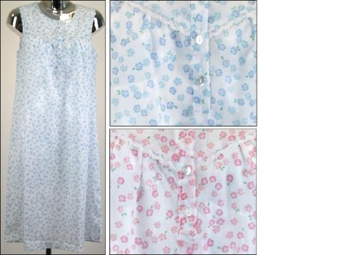 Womens Nightwear Flower Printed Sleevless Nightie/Nightdress Poly Cotton, Various Colours & Sizes