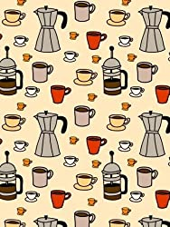 "Carafes, Coffee Presses, and Coffee Mugs on a Beige Background - 18""H x 14""W - Peel and Stick Wall Decal by Wallmonkeys from WallMonkeys.com"