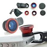 Universal 3 in 1 Camera Lens Kit for Smart phones (including iPhone, Samsung Galaxy, HTC, Motorola and More), Tablets, iPad, and Laptops includes One Fish Eye Lens / One 2 in 1 Macro Lens and Wide Angle Lens / One Universal Clip / One Microfiber Carrying Bag / with Camkix® Retail Packaging (Red)
