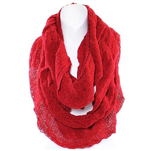 An- Winter Net Ruffle Infinity Knit Scarf (Red)