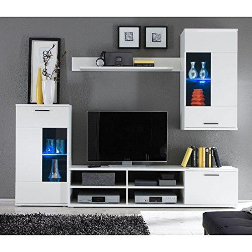 Hbz wohnwand frontal 1 in wei design inklusive beleuchtung for Tv schrankwand design