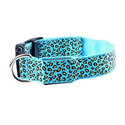 LED Lights Flash Safety Pet Collar Leopard Adjustable Dog Neck belt (Size XL)