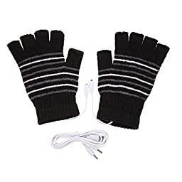 Chinatera 5V Laptop USB Powered Heated Stripe Half & Full Finger Winter Warm Hand Warmer Gloves Washable (Black)