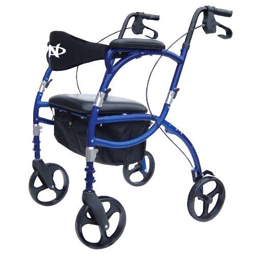 Hugo Navigator Combo Rollator Walker + Transport Wheelchair;Blue