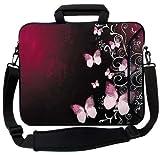 MySleeveDesign Borsa porta notebook e laptop - Custodia in neoprene con tracolla 15,6 pollici / 17,3 pollici - DIVERSE FANTASIE - Butterfly Pink [15]