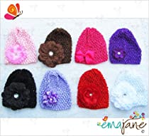 Ema Jane - Crochet Baby Beanie Waffle Hats with Hair Accessories (Flowers and Bows) (8 Hats + 8 Hair Accessories)