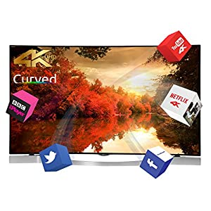 Finlux 55 Inch Curved Ultra HD Smart 3D Netflix / You Tube 4K LED TV Freeview HD (55UX3EC320S-T)