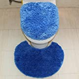 Cute Minorトイレマットおしゃれトイレマット2点セット吸水 速乾 抗菌 防臭 加工抗菌防臭シャギートイレマット (ブルー)