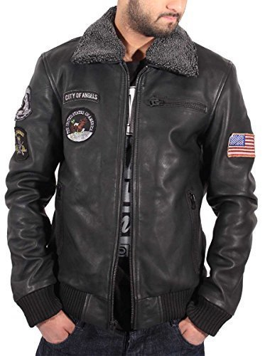 Aviatrix Mens Ragazzi USA pilota Volo giacca in pelle nera Bomber Air Force Black XX-Large