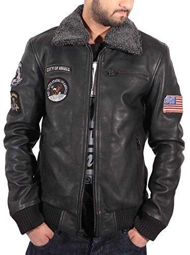 Aviatrix Mens Ragazzi USA pilota Volo giacca in pelle nera Bomber Air Force Black XX-Large