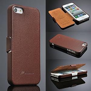 Iphone 5 / 5s Hülle, ***ECHT LEDER - HANDGEFERTIGT*** - Zubehör Case Etui IPhone Flip Case Schutzhülle - Farben SCHWARZ, BRAUN, WEISS, ROT, PINK - ***GELD-ZURÜCK-GARANTIE***