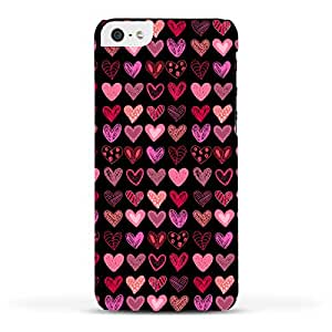 FUNKYLICIOUS iPhone 5,5S Back Cover Many Hearts on black Design (Multicolour)