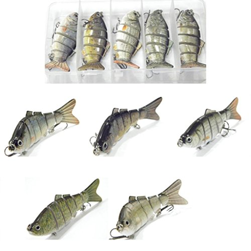 5 Swimbaits Hard Baits Fishing Lures with Free Tackle Box HS6K