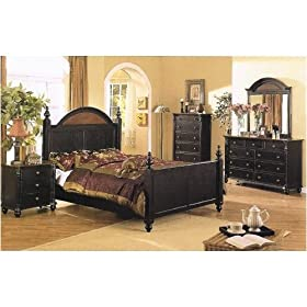 4pc Dark Wood Queen Size Bed Set W Night Stand Dresser Canopy Bedroom