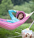 Grapefruit Stripe Easy-Carry Canvas Hammock in a Bag