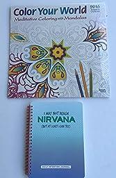 2 Item 2016 Calendar Bundle - 1-2016 Color Your World Calendar and 1-Knock-Knock Nirvana Daily Intention Journal