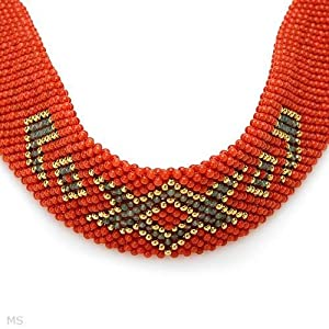 ENZO LIVERINO 18K Yellow Gold Aventurine and Coral Ladies Choker. Length 14 in. Total Item weight 95.3 g.