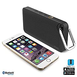 iLuv Aud Mini Smart 6 Slim Portable Weather-Resistant App-Enabled FM Radio and Bluetooth Speaker for iPhone 6/6 Plus 5s/5c/5 4S; Samsung GALAXY S5 S4 S3 Note 4 Note 3; LG; HTC; iPad; iPad mini and other Bluetooth-compatible Smartphones and Tablets-Black