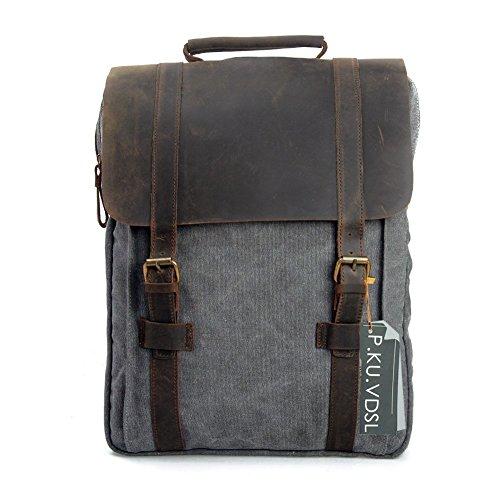 """Canvas Backpack, P.KU.VDSL Laptop Backpack, Vintage Canvas Backpack, Casual Daypacks, Retro Rucksack, Travel Bags, Genuine Leather Shoulder Bag for Men Outdoor Sports Recreation Fit 15"""" Laptop 1"""