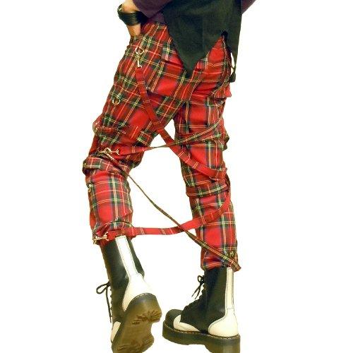 ヘルキャットパンクス  ユニセックス UK パンク ロック V系 ルーズ ボンテージ パンツ HCP-C167-06 RED-CHK