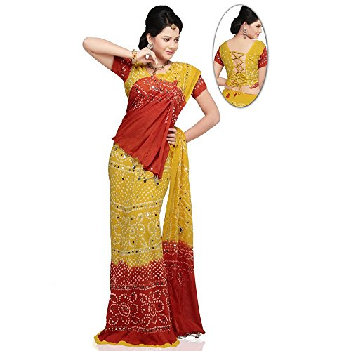 Kiran-Udyog-Rajasthani-Yellow-Red-Tie-n-dye-Cotton-Lehenga-701