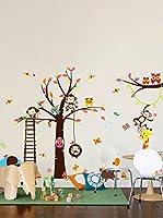 Ambiance-sticker Vinilo Decorativo Wonderful Giant Kid Tree, Monkeys, Girafe And Birds