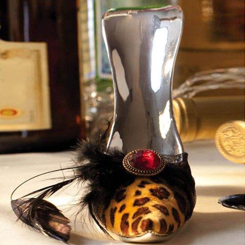 Cypress High Heel Wine Bottle Holder, Leopard Print