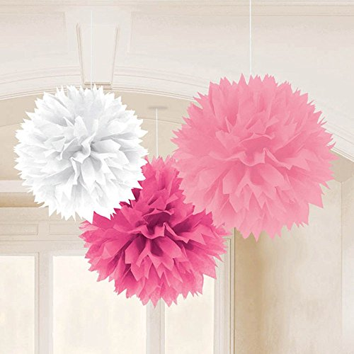 "Amscan Pretty Fluffy Baby Shower Hanging for Party Decorations, 16"", Pink"
