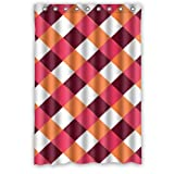 """Modern Brown Red Orange White Small Squares Design Shower Curtain (48""""x72"""")(New Waterproof Polyester Fabric) - Special Life Custom Bathroom Exclusive"""