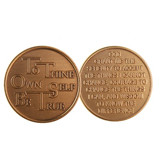 To Thine Ownself Be True - Bronze AA (Alcoholics Anonymous) -ACA-AL-ANON - Sober / Sobriety / Affirmation / Birthday / Anniversary / Desire / Recovery / Medallion / Coin / Chip