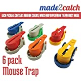 made2catch Easy Use Mouse Traps - 6 pack - Random Colors Increase Efficiency - Easy Set Snap Mouse Trap - Humane Mouse Traps that Work - Mice and Small Rodents Control